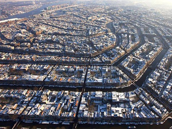 Aerial View of Amsterdam in the Netherlands