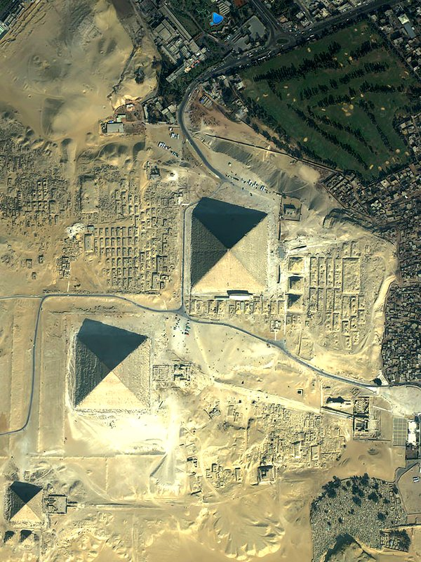 Aerial View of the Egyptian Pyramids at Giza