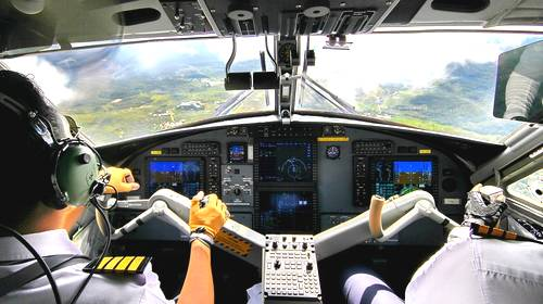 airplane cockpit view of landing