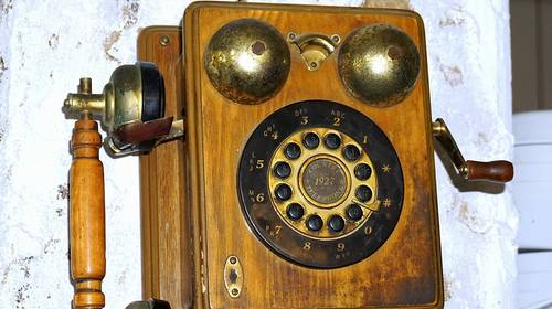 antique telephone rotary wood