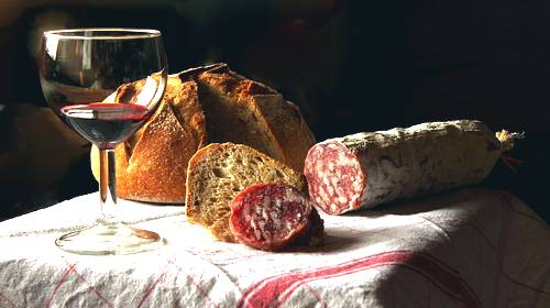 bread wine and sausage