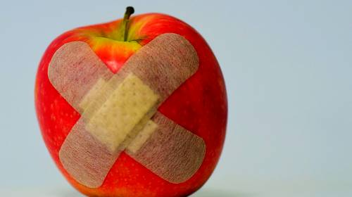 apples with bandaids
