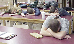 sleeping classroom students