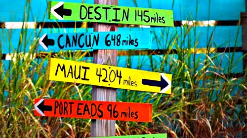 beach travel signs