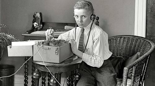 boy telegraph machine