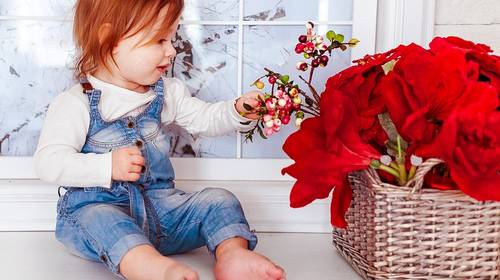 red haired child and red flowers
