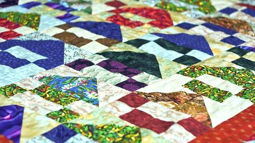 colorful red blue quilt