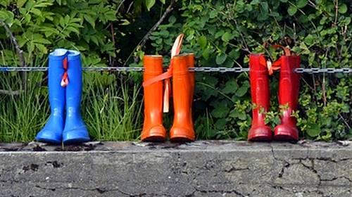 blue red orange rain boots