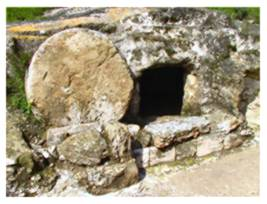 the empty tomb stone rolled away