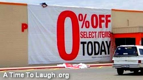 zero percent discount sign