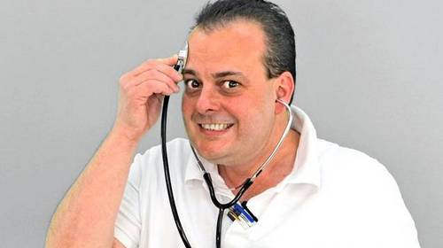 funny man with stethoscope