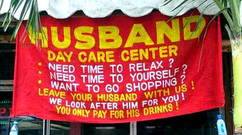 funny husband day care sign