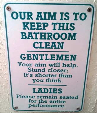 gentlemen and ladies bathroom sign