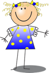 girl in blue and yellow polka dot dress smiling
