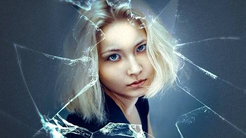 shattered glass woman face