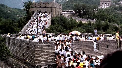 crowded line of people on the great wall of china