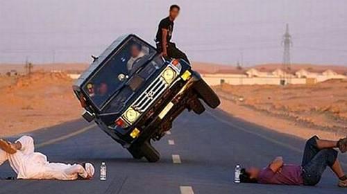 dangerous 2 wheel car driving