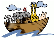 noahs ark with elephants and giraffes