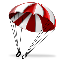 red and white parachute