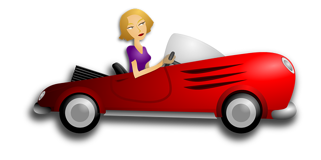 cartoon lady in red car