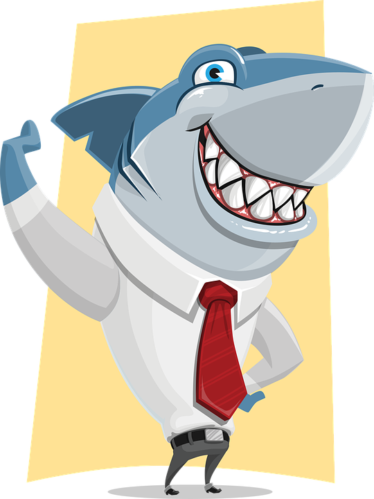 funny cartoon shark wearing a white shirt and tie