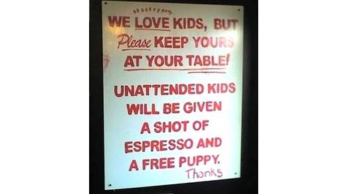 kids puppy expresso sign