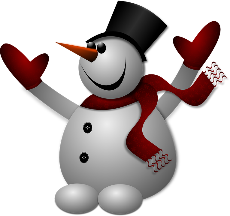 snowman graphic with stove pipe hat