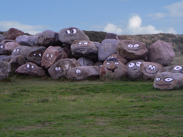 stone rocks with eyes