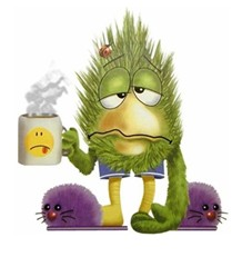 green hairy cartoon with morning coffee
