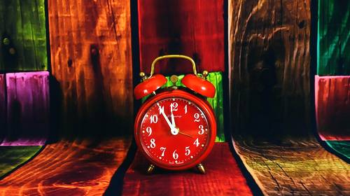red old fashion clock