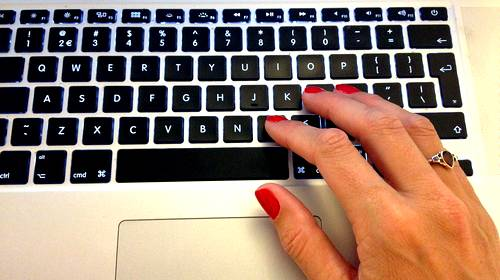 keyboard typing ladys hand