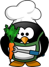 penguin cook with carrot