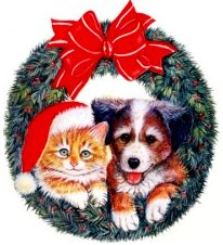 Christmas Wreath with Kitty and Puppy